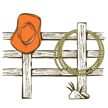 Cowboy American Ranch Background With Cowboy Hat And Lasso On Wood Fence. Vintage Westerrn Symbol Hand Drawn Illustration On Old Paper Texture For Text