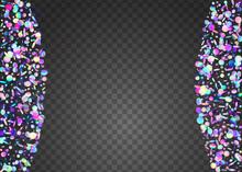 Transparent Glare. Iridescent Texture. Laser Colorful Wallpaper. Digital Foil. Carnival Confetti. Crystal Art. Purple Shiny Glitter. Disco Flyer. Blue Transparent Glare