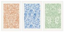 Set Of 3 Contemporary Morris-inspired Posters. Botanical Formula.