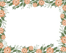 Simple Floral Background With Orange Flowers And Green Leaf Border