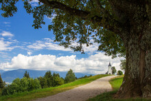 Saint Primoz Chrch In Jamnik Village, Slovenia