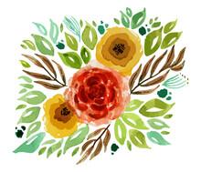 Vector De Flores, Rosas Y Hojas. Ilustración Botánica Vectorial Decorativa. Arreglo Floral. Transparencia.