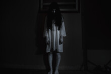Woman Ghost Horror Face Her Standing Looking Eyes, Halloween Concept