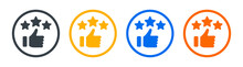 Recommendation Icon. Thumb Up With 3 Stars Sign Symbol. Vector Illustration.
