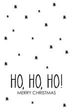 Risa De Papá Noel. Expresión De Santa Claus. Banner Con Frase Ho Ho Ho Merry Christmas Manuscrito Con Copos De Nieve En Color Negro
