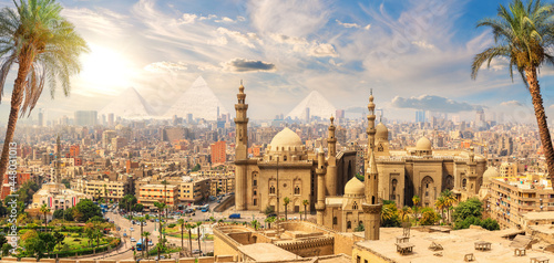 Fotografering Mosque-Madrasa of Sultan Hassan behind the palm trees, Cairo, Egypt