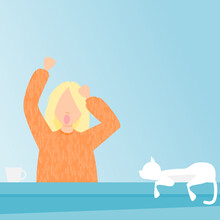 My Holiday. Flat Vector Illustration. Girl On Her Holiday With Cats On The Roof