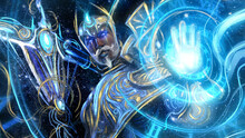 A Great Time Magician In Blue Robes With Golden Patterns Conjures A Time Spiral With One Hand And Holds A Scythe Staff In The Other, He Has A Kind Face With A Mustache And Glowing Blue Eyes .