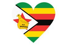 Zimbabwe Flag Of Heart Shape Isolated On White Background