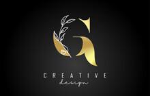 Golden G Letter Logo Design With White Leaves Branch Vector Illustration.