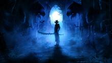 A Sinister Warrior In A Hat And Jacket With A Huge Serrated Sword Stands In A Gothic Ruin In The Blue Mist Of A Moonlit Night, Flanked By Ugly Gargoyles, His Eyes Glow Ominously In The Dark. 2d