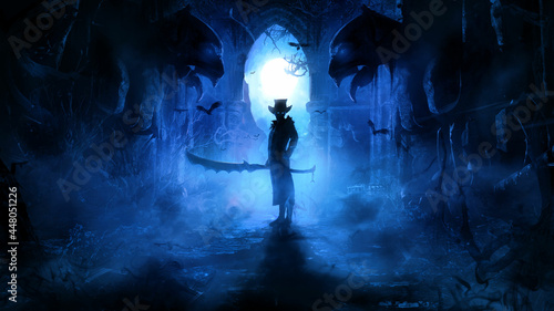 Fotografie, Obraz A sinister warrior in a hat and jacket with a huge serrated sword stands in a Gothic ruin in the blue mist of a moonlit night, flanked by ugly gargoyles, his eyes glow ominously in the dark