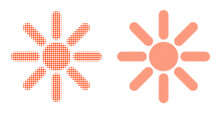 Pixelated Halftone Sun Rays Icon. Vector Halftone Concept Of Sun Rays Pictogram Created Of Round Items.