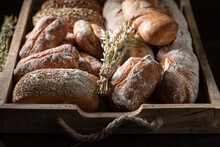 Rustic Baguettes And Buns For Healthy Breakfast. Made Of Wheat.