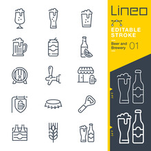 Lineo Editable Stroke - Beer And Brewery Line Icons