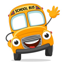 School Bus Waving Hand. Character Yellow Bus