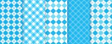 Lozenge Checkered Seamless Pattern. Argyle Diamond Backgrounds. Set Blue Rhombus Plaid Prints. Vector Illustration. Bavarian Oktoberfest Textures. Modern Geometric Backdrop.