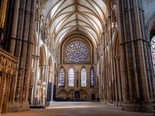 Lincoln Cathedral Inside Interior Decor Scene, Lincoln, Lincolnshire, England, United Kingdom, Europe