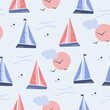 Sailboat, sun and seagull seamless pattern on blue background