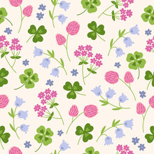 Floral Seamless Pattern With Quatrefoil, Shamrock, Clover, Bellflower. Vector Illustration