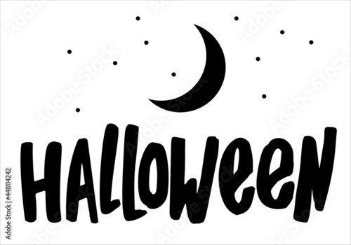 Obraz na plátně Vector illustration of design cards with lettering Halloween with the moon
