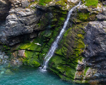 Waterfall At Tintagel Castle In Cornwall, UK