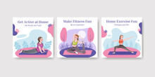 Social Media Post Template With Exercise Home Concept Watercolor Style