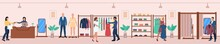 Diverse People Shopping At Fashion Shop During Clothing Sale. Happy Boutique Customer And Friendly Seller Character Choosing, Buying Clothes Item At Garment Shop Vector Illustration
