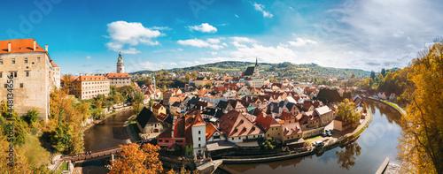 Fotografia St. Vitus Church and cityscape Cesky Krumlov, Czech republic