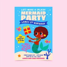 Cartoon Mermaid Party Birthday Invitation