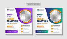 School Admission Square Banner And Social Media Post Template Premium Vector