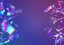 Neon Sparkles. Violet Party Glitter. Carnival Tinsel. Surreal Foil. Glamour Art. Retro Flare. Falling Texture. Laser Colorful Backdrop. Blue Neon Sparkles