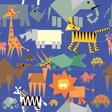 Seamless Pattern With African Animals On A Blue Checkered Background