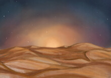 Evening Sand Dunes With Sunset And Starry Sky. Hand-drawn Watercolor Picturesque Desert Landscape. Landscape Illustration, Sunset, Fields, Hills. Sand Hills. Sahara Background. Sandy Landscape Wallart