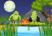 Night Scene With Goblin Troll Cartoon Character