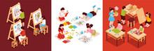 Isometric Children Art School Compositons Set