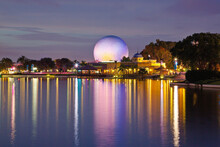 The Spaceship Earth Sphere At Epcot Center Illuminated At Night In Walt Disney World In Orlando Florida