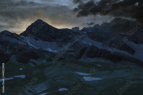 close-up view of the mountains of the laga and of the gran sasso abruzzo during Fototapeta
