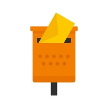 Old Mailbox Icon Flat Isolated Vector
