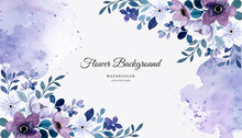 Watercolor Purple Floral Abstract Background