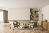 Fototapeta Kawa jest smaczna - Living room with beige walls, four armchairs and empty space