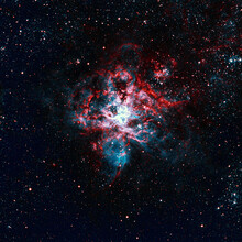 Tarantula Nebula Is A Square Background With Deep Space For Scientific Publications, Design And Personal Creativity. High-resolution Astrophotograph Of The Nebula And Starry Sky
