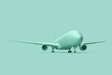 Minimalistic Illustration Of Passenger Airplane On Teal Background. 3D Illustration