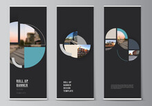 Vector Layout Of Roll Up Mockup Design Templates For Vertical Flyers, Flags Design Templates, Banner Stands. Background With Abstract Circle Round Banners. Corporate Business Concept Template.
