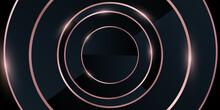 Modern Abstract Light Blck Background . Elegant Circle Shape Design With Golden Line.