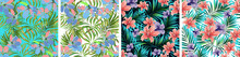 Palm Leaves. Seamless Pattern With Leaves Of Tropical Plants With Blooming Flowers. Vector Floral Design. Set.