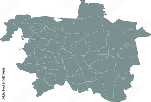 Simple gray vector map with white borders of borough districts of Hanover, Germa Fototapete