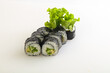 Japanese maki with cucumber and salad