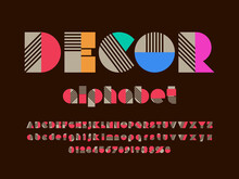 Art Deco Style Alphabet Design With Uppercase, Lowercase, Numbers And Symbols