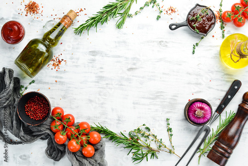 Fotomural White wooden background of cooking